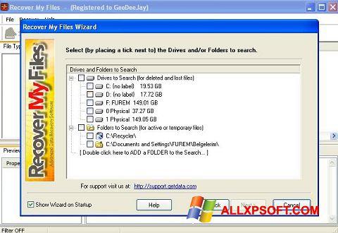 Petikan skrin Recover My Files untuk Windows XP