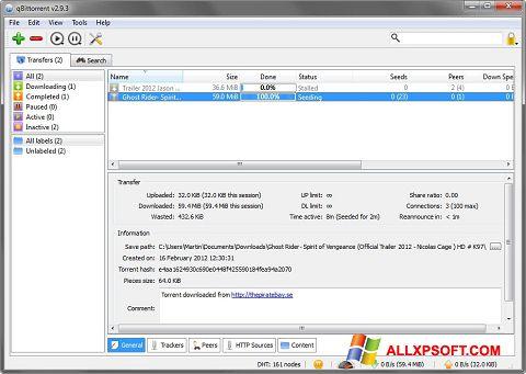 Petikan skrin qBittorrent untuk Windows XP