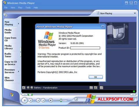 Petikan skrin Windows Media Player untuk Windows XP