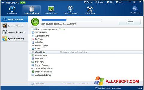 Petikan skrin Wise Care 365 untuk Windows XP