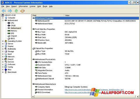 Petikan skrin AIDA32 untuk Windows XP