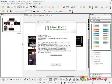 Petikan skrin LibreOffice untuk Windows XP