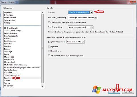 Petikan skrin Adobe Reader untuk Windows XP