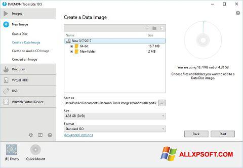 Petikan skrin DAEMON Tools Lite untuk Windows XP