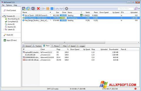Petikan skrin BitTorrent untuk Windows XP