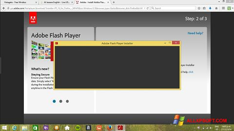 Petikan skrin Adobe Flash Player untuk Windows XP