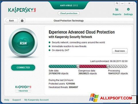 Petikan skrin Kaspersky untuk Windows XP