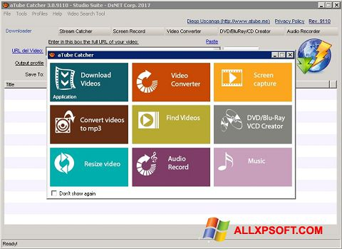 Petikan skrin aTube Catcher untuk Windows XP