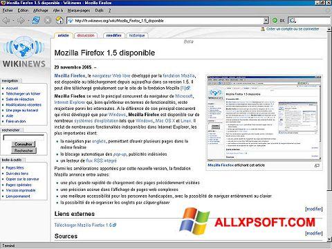 Petikan skrin Mozilla Firefox untuk Windows XP