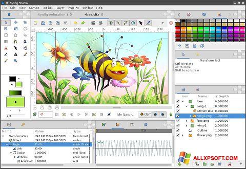 Petikan skrin Synfig Studio untuk Windows XP