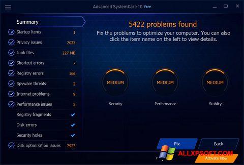 Petikan skrin Advanced SystemCare Free untuk Windows XP