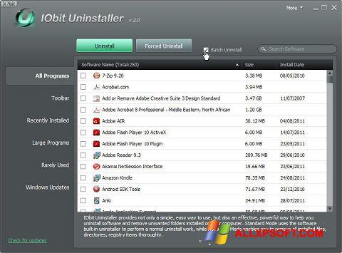 Petikan skrin IObit Uninstaller untuk Windows XP
