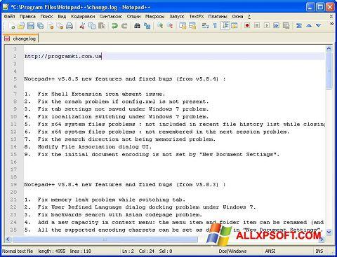 Petikan skrin Notepad++ untuk Windows XP