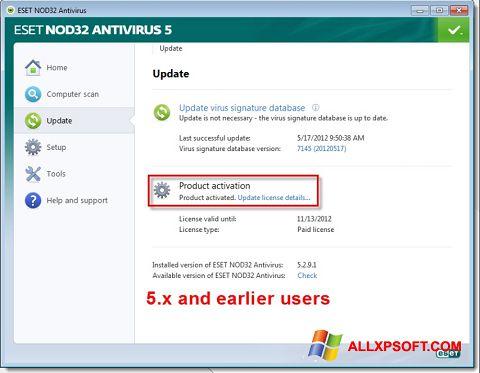 Petikan skrin ESET NOD32 untuk Windows XP
