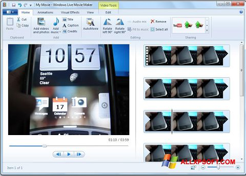Petikan skrin Windows Live Movie Maker untuk Windows XP