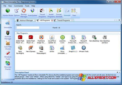 Petikan skrin Revo Uninstaller Pro untuk Windows XP